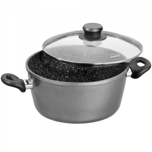 STONELINE® Cooking pot 20 cm, with glass lid