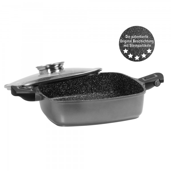 STONELINE® Imagination PLUS Square pan 24 x 24 cm, with removable handles, with aroma glass lid