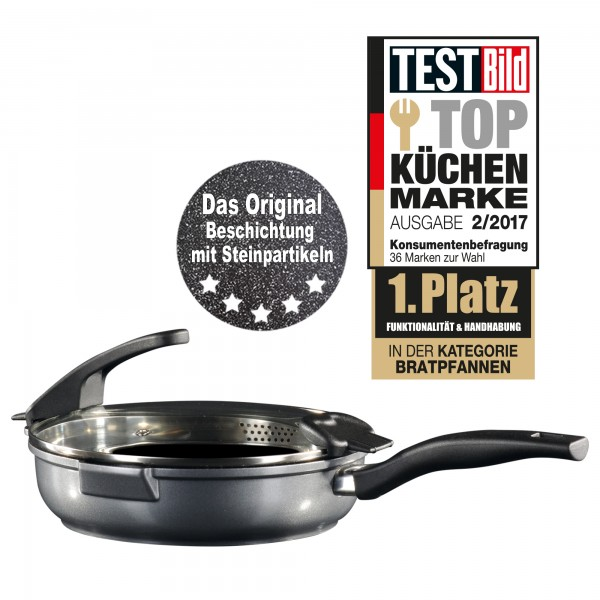 STONELINE® FUTURE frying pan, 20 cm, with sieve glass lid