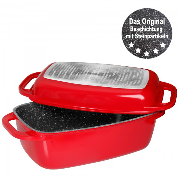 STONELINE® XXL Roaster 42.8 x 26.2 cm, with die-cast aluminium lid, lid can be used as a casserole dish