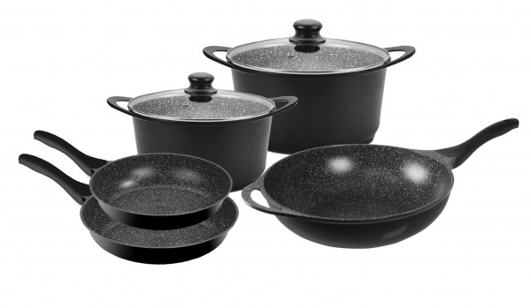 STONELINE® Cookware set, set of 7, with glass lid