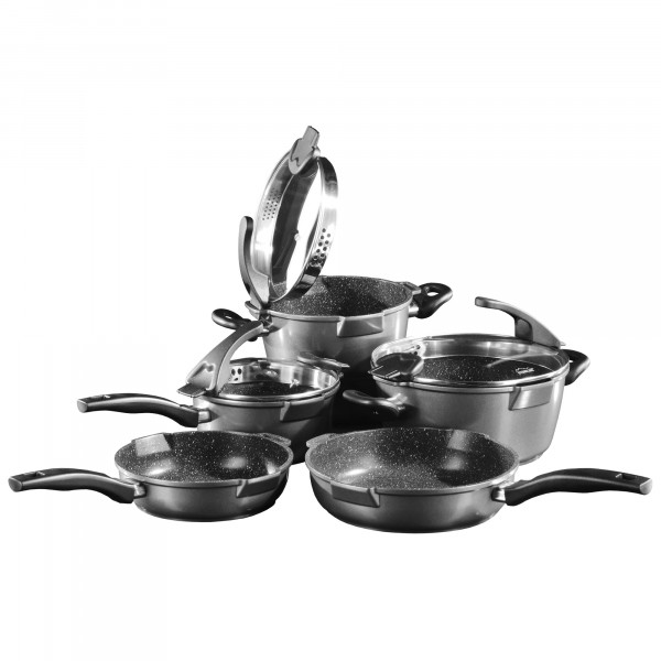 STONELINE® FUTURE Cookware set, set of 8, with sieve glass lids