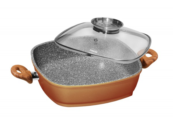 STONELINE® Back to Nature Square pan with aroma glass lid 28 x 28 cm