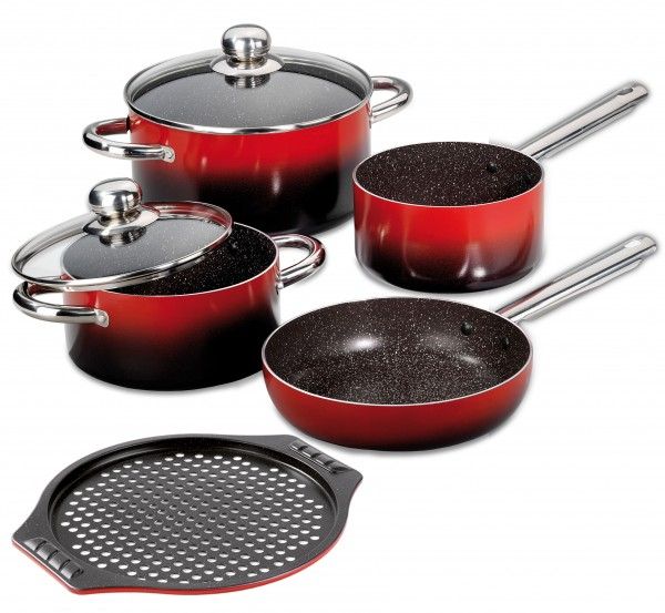 STONELINE® Design Cookware set, 7-piece, with glass lids and pizza baking sheet