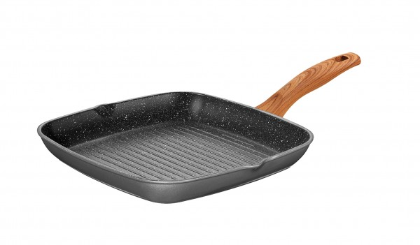 STONELINE® Back to Nature Grill pan 28 x 28 cm, with 2 spouts, Made in Germany