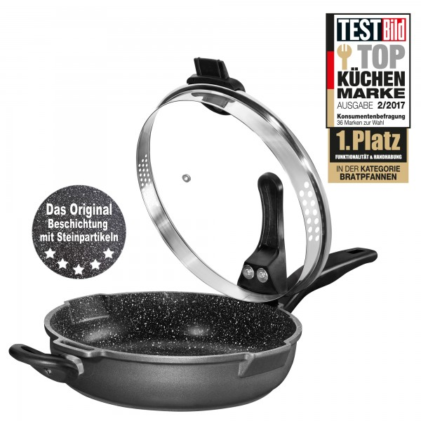 STONELINE® XTREME Stewing pan, 28 cm, with glass lid with sieve function