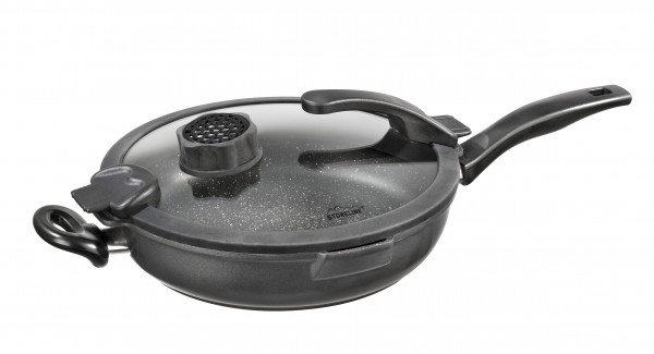 STONELINE® Smell Well casserole dish 28 cm, incl. glass lid with odour filter or aroma function