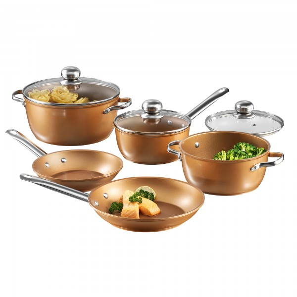 Copper Star Cookware set, set of 8, with glass lids