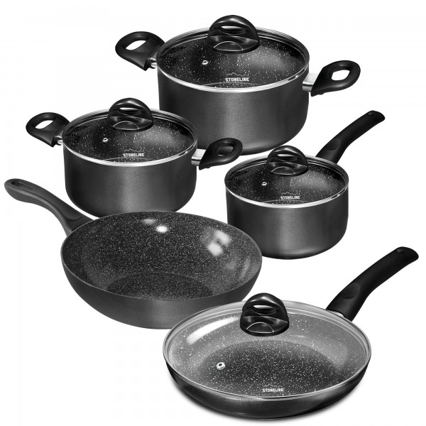 STONELINE® CERAMIC Cookware set, set of 9, with glass lids