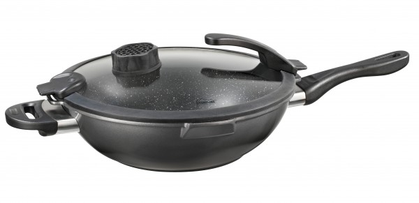 STONELINE® Smell Well Wok 32 cm, incl. glass lid with odour filter or AROMA FUNCTION