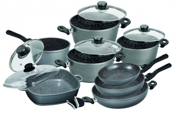 STONELINE® FLEX Cookware set, set of 13, with glass lids and removable handles