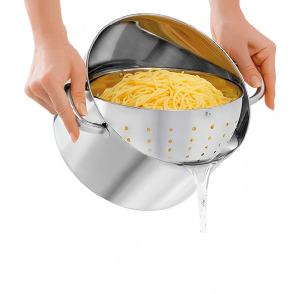 BEYOND® pot, 24 cm, with glass lid and sieve