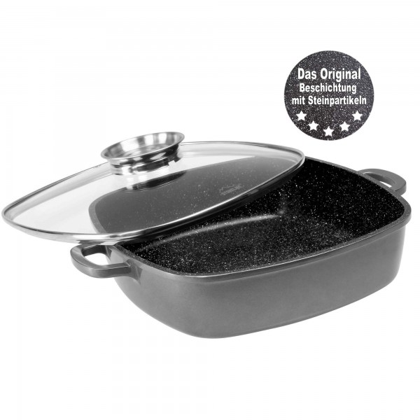 STONELINE® Square pan 24 x 24 cm, with aroma glass lid