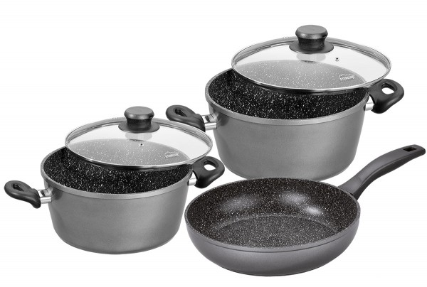 STONELINE® Cookware set, set of 5, with glass lids
