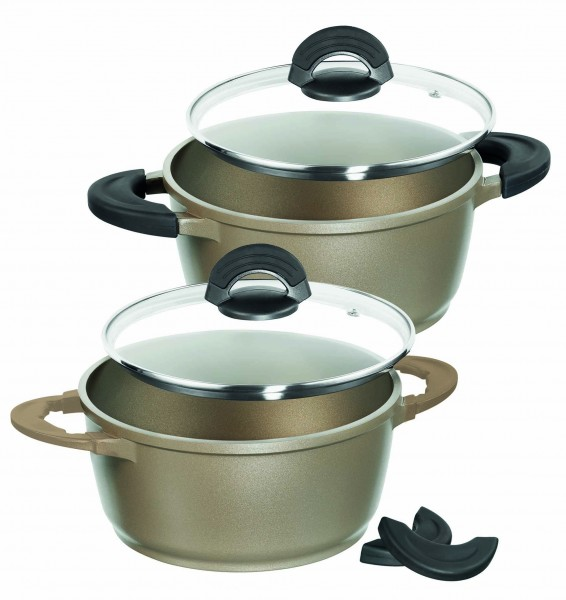IMPERA® 4 pc Pot Set, colour champagne gold