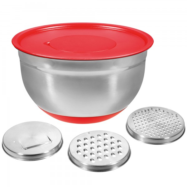 STONELINE® Stainless steel multi purpose bowl set, set of 5, with 3 graters, with lid, red