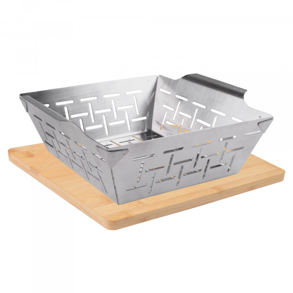 Freyersbacher® stainless steel grill basket with 2-in-1 bamboo board