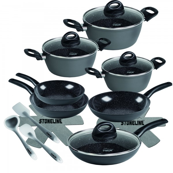 STONELINE® CERAMIC Cookware set, set of 16, with glass lids