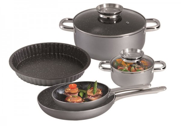 STONELINE® PREMIUM cookware set, set of 7, with quiche pan and glass lids
