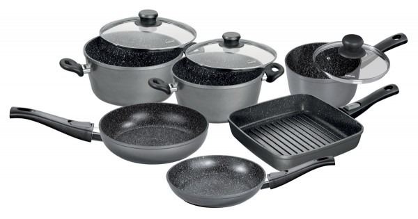 STONELINE® FLEX Cookware set, set of 9, with glass lids and removable handles