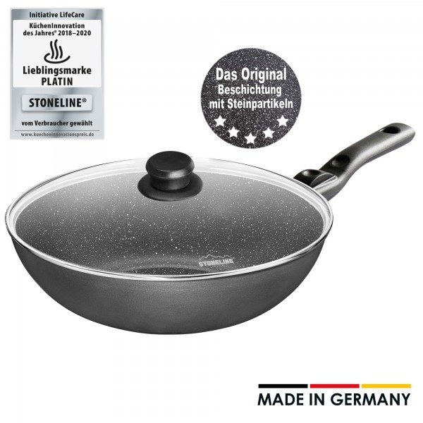Wok STONELINE® made in Germany, 30 cm, con mango extraíble y tapa