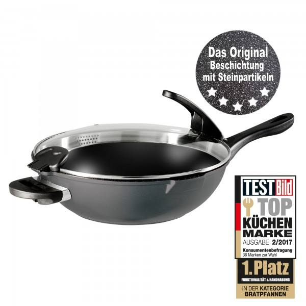 STONELINE® FUTURE Wok 32 cm, with exchangeable handles, with sieve glass lid