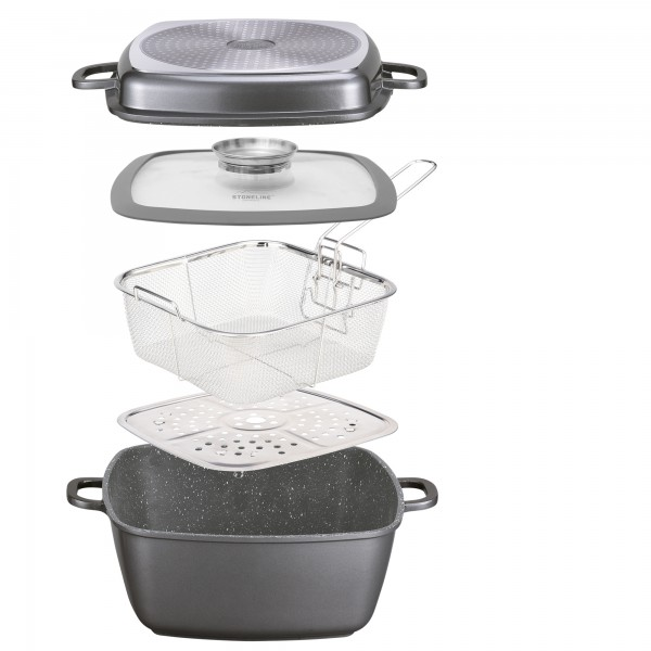 STONELINE® Multi-purpose square pan 28 x 28 cm, with steaming and deep-frying features