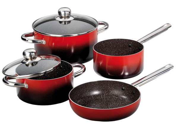 STONELINE® Design Cookware set, set of 6, with glass lids
