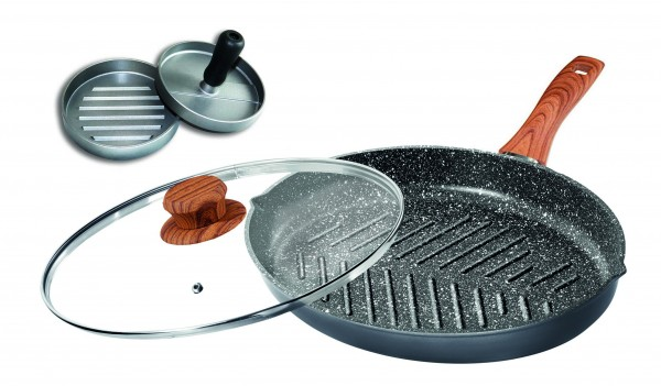 STONELINE 3pc. Cookware set: XXL Burgerpan with lid m. nature handle & Burgerpress