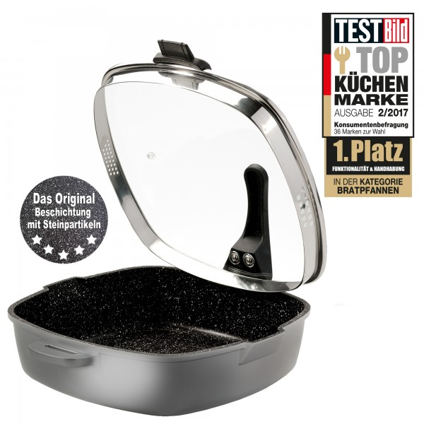 STONELINE® FUTURE Square pan 28 x 28 cm, with sieve glass lid