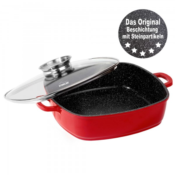 STONELINE® Square pan red with aroma glass lid - 2 handles with thermo protection