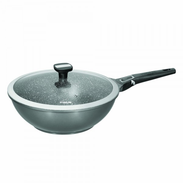 STONELINE® Imagination PLUS Wok 28 cm, with removable handle, with glass lid