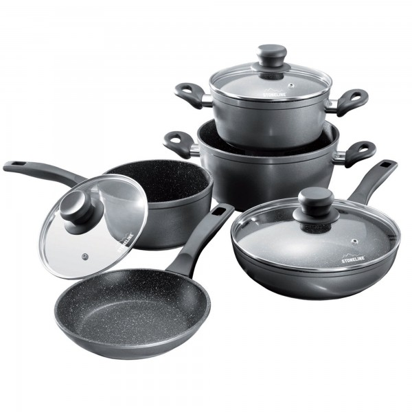 STONELINE® Cookware set, set of 8, with glass lids