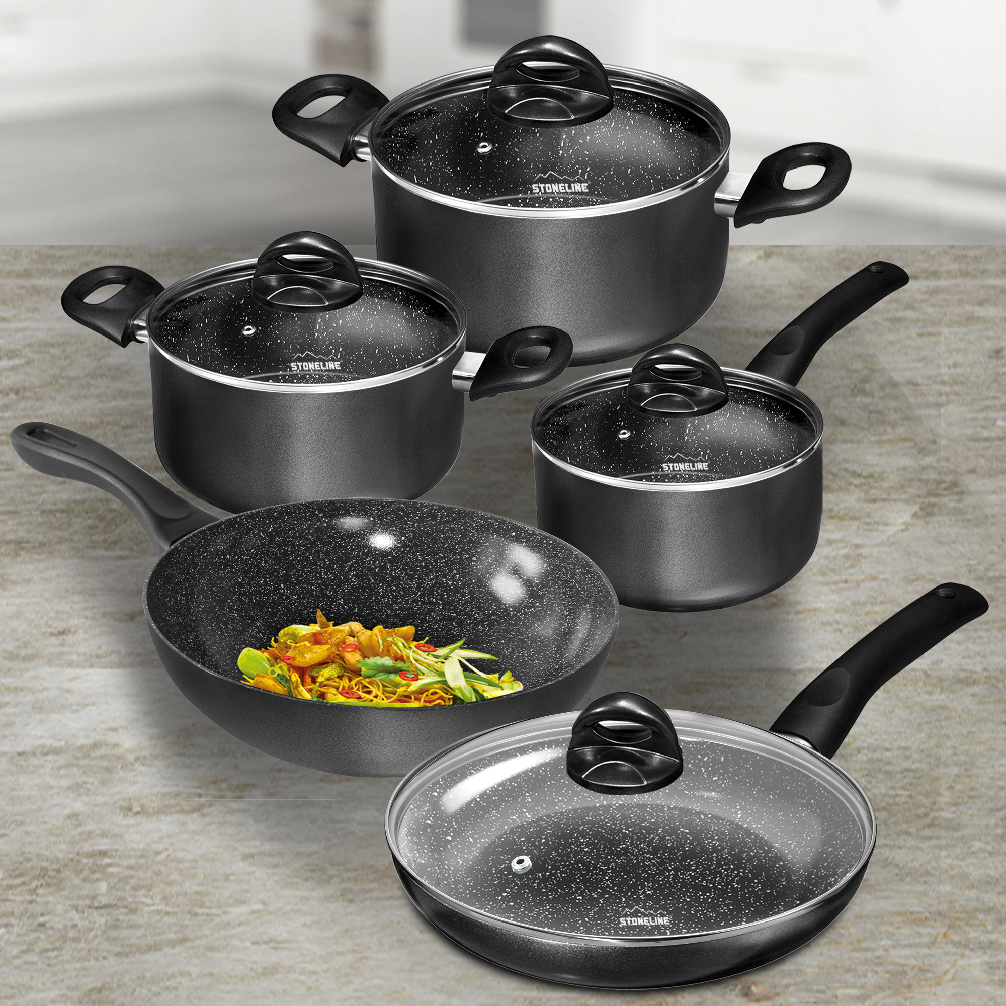 Stoneline Ceramic Cookware Set Set Of 9 With Glass Lids Cookware Sets Cookware Stoneline