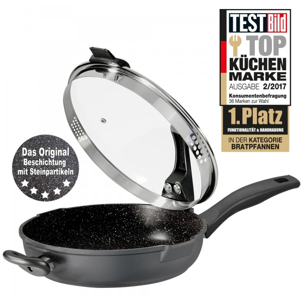 STONELINE® FUTURE Stewing pan 28 cm, with sieve glass lid