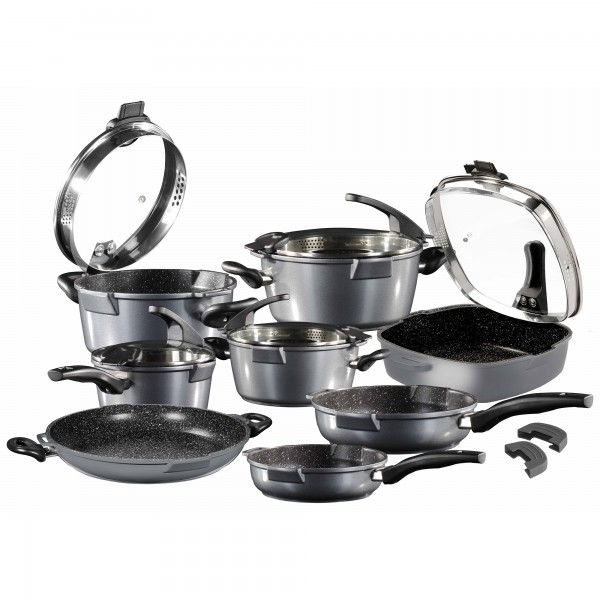 STONELINE® FUTURE Cookware set, set of 13, with sieve glass lid