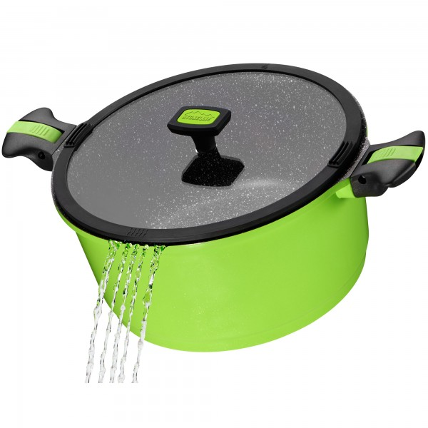 STONELINE® Imagination stewing pan 28 cm, with exchangeable and removable handles, with glass lid