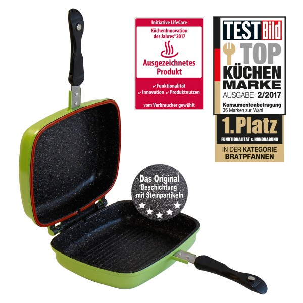 STONELINE® Multifunctional square double frying pan 27 x 22 cm, green
