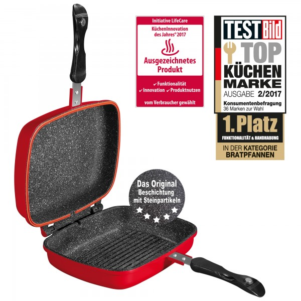 STONELINE® Multifunctional square double frying pan 27 x 22 cm, red
