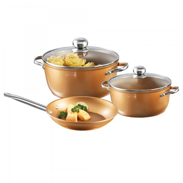 Copper Star Cookware set, set of 5, with glass lids