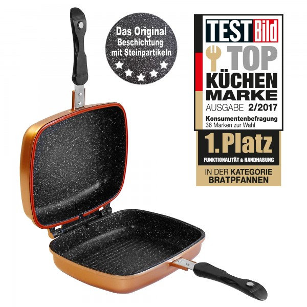 STONELINE® Multifunctional square double frying pan 27 x 22 cm, copper