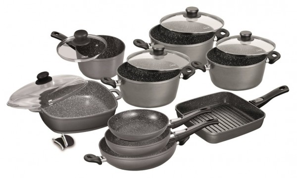 STONELINE® FLEX Cookware set, set of 14, with glass lids and removable handles