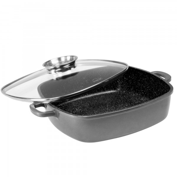STONELINE® Square pan 32 x 32 cm, with aroma glass lid