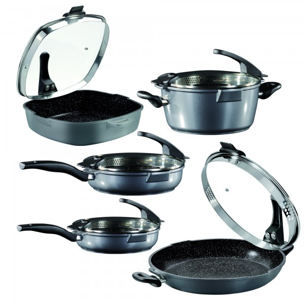 STONELINE® FUTURE Cookware set, set of 10, with sieve glass lid