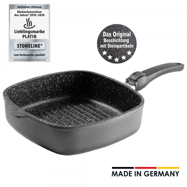 STONELINE® Made in Germany Square griddle, 26 x 26 cm, with removable handle