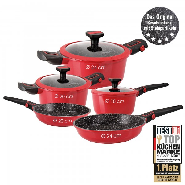 STONELINE® Imagination PLUS Cookware set, set of 8, with removable handles, red
