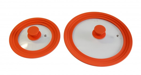 STONELINE® Universal glass lid set, 2-Piece with silicone rim, for 16/18/20 cm and 24/26/28 cm