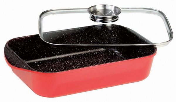 STONELINE® Roaster and casserole dish combination 40 x 25 cm, with aroma glass lid, red