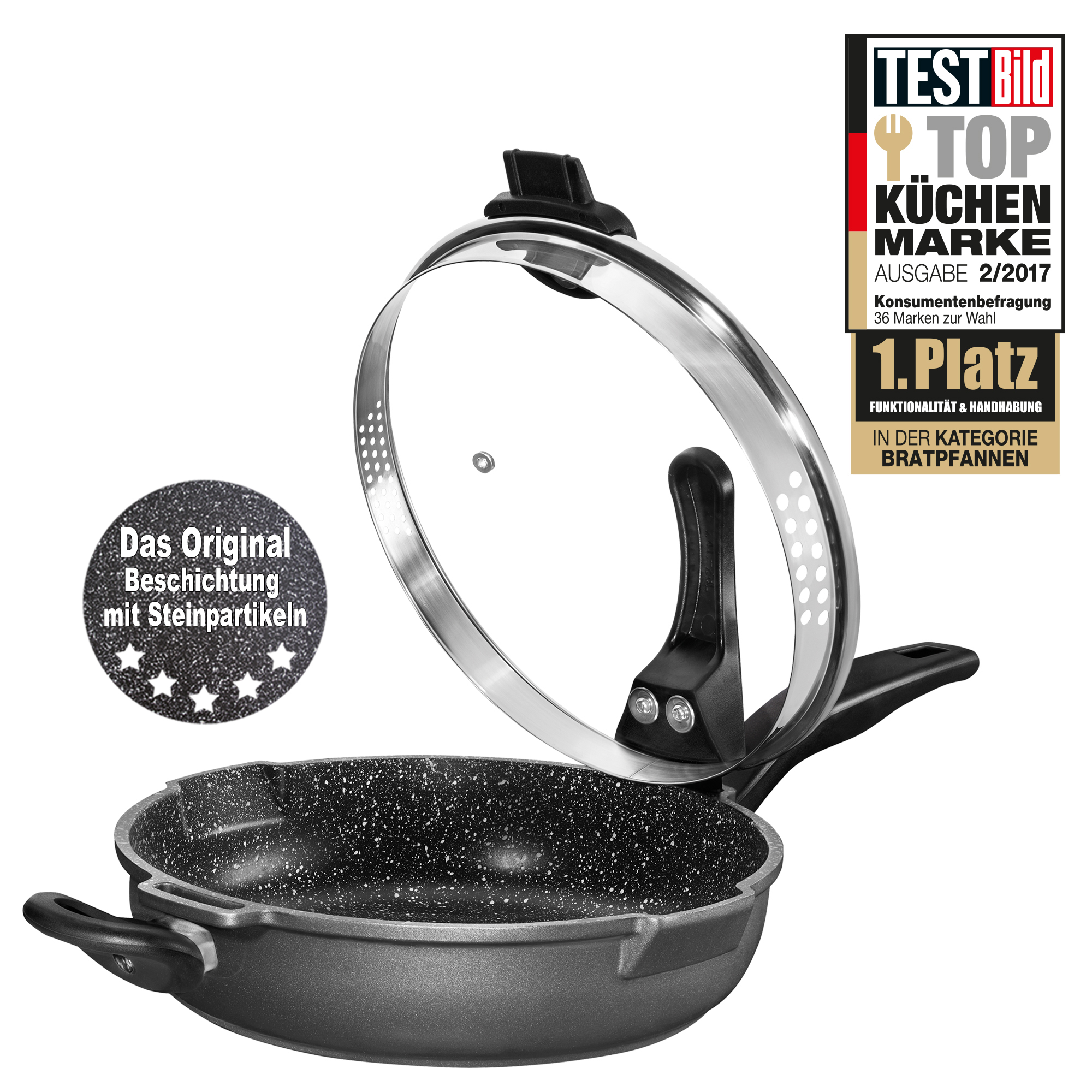 Stoneline Xtreme Stewing Pan 28 Cm With Glass Lid With Sieve