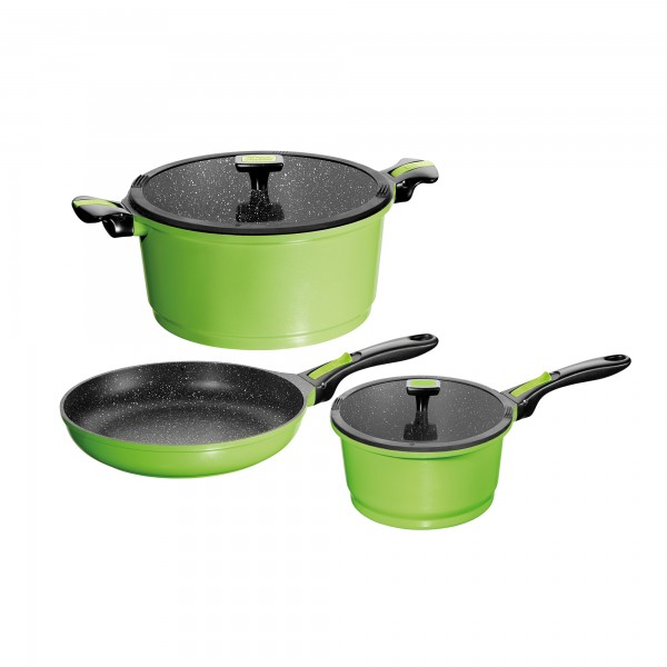 STONELINE® Imagination cookware set, set of 5, with exchangeable and removable handles, with glass lids, green